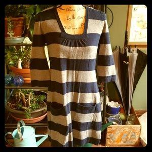 Short knit striped dress.